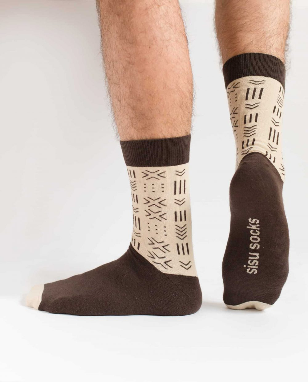 brown and beige african mudcloth socks for men from sisu socks