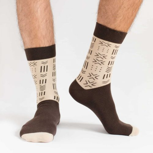 brown and beige african mudcloth socks for men